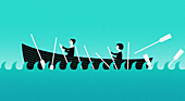 Business people struggling to row a boat, illustration