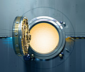 Open vault door with glowing light inside, illustration
