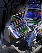 Man working at control panels, illustration