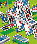 Workers building house of cards, illustration
