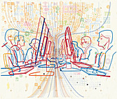 Rows of office workers at computers, illustration