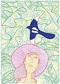 Woman watching bird flying, illustration