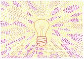 Light beams from glowing light bulb, illustration