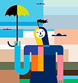 Smiling woman holding umbrella, illustration
