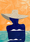 Woman wearing straw sun hat at seaside, illustration