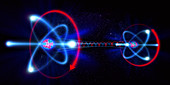 Rotating atom particles, illustration