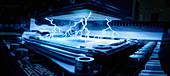 Electrical energy sparks inside CPU, illustration