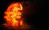 Red hot burning metal euro sign, illustration