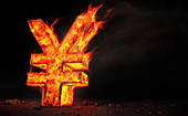Red hot burning metal yen sign, illustration