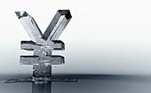 Melting frozen yen sign, illustration