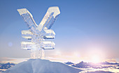 Frozen yen sign on top of mountain, illustration