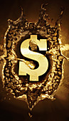 Gold dollar sign splashing in molten metal, illustration