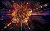 Complex abstract glittering exploding shape, illustration