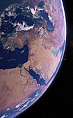 Middle East from space, illustration