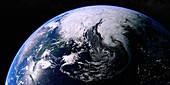 The North Atlantic Ocean from space, illustration