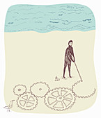 Man drawing connected cogs in sand on beach, illustration