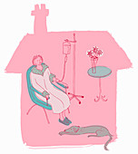 Woman patient recovering at home, illustration