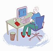 Man working at desk using computer, illustration