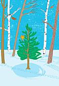 Christmas tree in woods, illustration