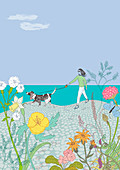 Woman walking dog along beach, illustration