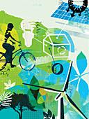Environmentally friendly lifestyle, illustration