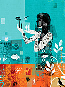 Collage of woman caring for nature, illustration