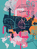 Collage of United States and global trade, illustration