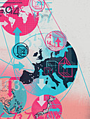 European trade links with the world, illustration