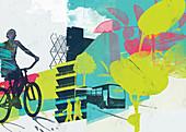 Collage of green city transport, illustration