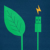 Green leaf next to electric usb cable and plug, illustration