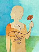 Woman holding rose, illustration