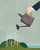 Businessman watering wind turbines, illustration
