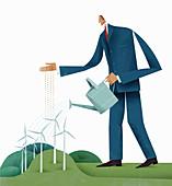 Businessman watering wind turbine, illustration