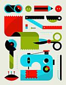 Sewing kit equipment, illustration