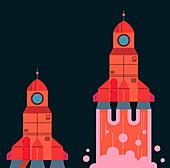 Retro rocket taking off, illustration
