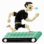 Man exercising on running machine, illustration