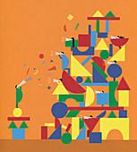 Building block people with megaphones, illustration