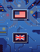American and British flags disconnected, illustration