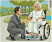 Man talking to elderly woman in wheelchair, illustration