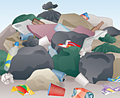 Messy pile of abandoned rubbish, illustration