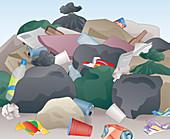 Messy pile of abandoned rubbish, illustration