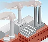 Air pollution from factory chimneys, illustration