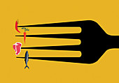 Large fork with different food on each prong, illustration