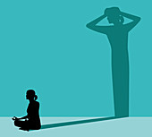 Woman practising yoga to combat stress, illustration