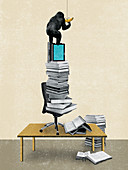 Gorilla reaching banana on pile of books, illustration