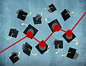 Graph connecting graduation mortar boards, illustration