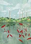 Wind turbine blades reflected in lake, illustration