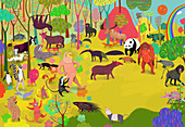 Animals in colourful jungle, illustration