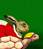 Tortoise and hare racing, illustration