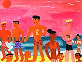 Young people at bright colour beach, illustration